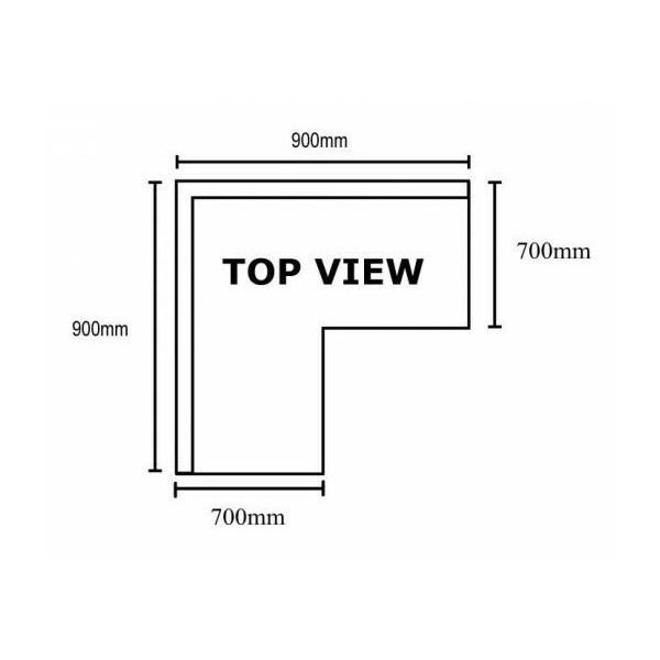Corner Splashback Bench 900 W X 700 D X 900 H