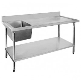Stainless Sink Bench 1500 W x 600 D with Left Bowl