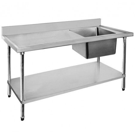 Stainless Sink Bench 1500 W x 600 D with Right Bowl
