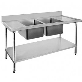 Stainless Sink Bench 1800 W x 600 D with Centre Bowls