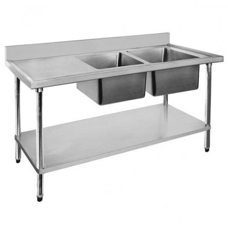 Stainless Sink Bench 1500 W x 600 D with Right Bowls
