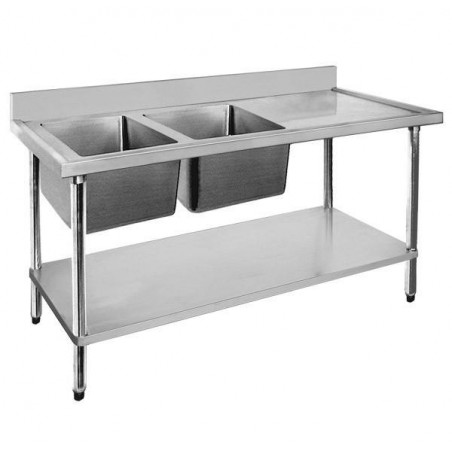 Stainless Sink Bench 1800 W x 600 D with Left Bowls