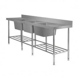 Triple Bowl Sink Bench 2400 L x 600 D