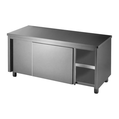 Stainless Cabinet 1500 W x 700 D with Sliding Doors on Both Sides