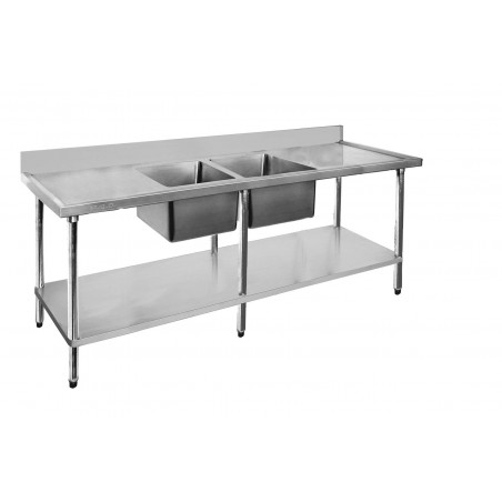 Stainless Sink Bench 2400 W x 600 D with Centre Bowls