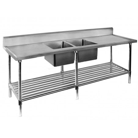 Double Sink Bench 2100 W x 700 D with Centre Bowls