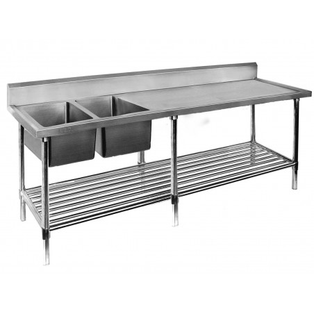 Double Sink Bench 2400 W x 700 D with Left Bowls