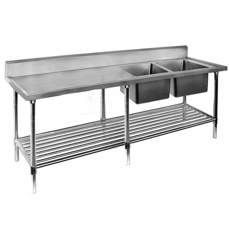Double Sink Bench 2400 W x 700 D with Right Bowls
