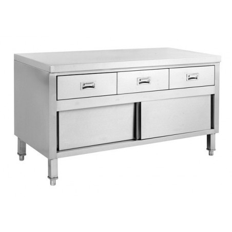 Stainless Cabinet With Doors and Drawers 1500 W x 700 D