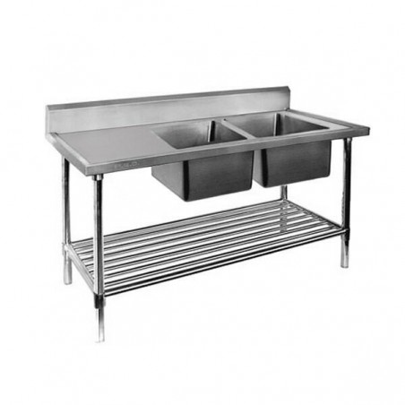 Double Sink Bench 1500 W x 700 D with Right Bowls