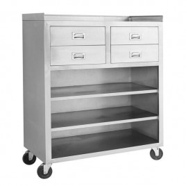Mobile Cabinet with Drawers and Shelves