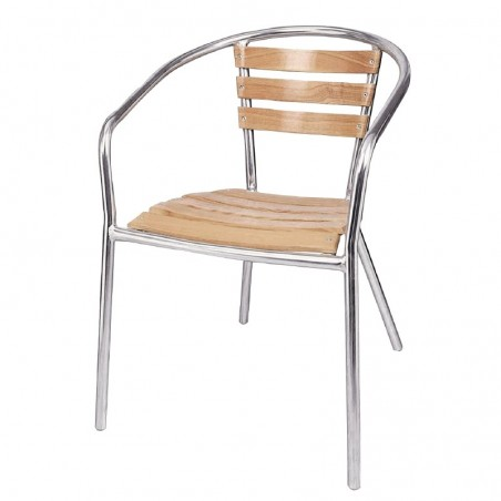 4 x Cafe Chairs Aluminium Ash Stackable
